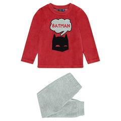 Pyjama van velours in twee kleuren met Batman print