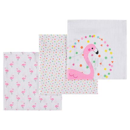 Set van 3 luiers van tetrastof met roze flamingo's