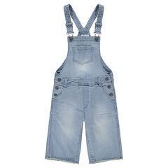 Junior - Tuinbroek uit jeans met used effect en wijde broekspijpen