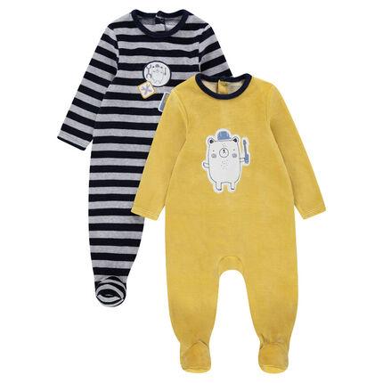 Set van 2 pyjama's van gestreept velours met badges / effen met geprintre beer