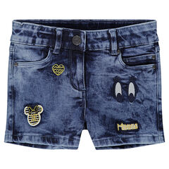 Jeansshort met used effect en badges van Minnie ©Disney