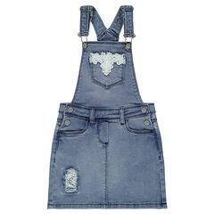 Robe salopette en jeans effet used avec empiècements en dentelle