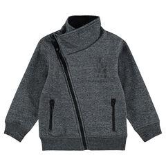 Gilet en molleton avec ouverture en biais et poches zippées