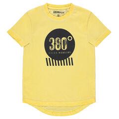 Junior - Tee-shirt manches courtes en jersey surteint jaune avec print