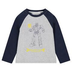 Tweekleurig T-shirt met lange mouwen van jerseystof met ©Transformers-print
