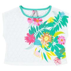 Tee-shirt manches courtes print fleurs et dos dentelle