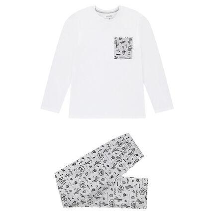 Junior - Pyjama uit jerseystof met cactusprint
