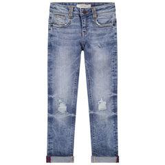 Junior - Jeans met used en crinkle-effect en met scheuren en zakken