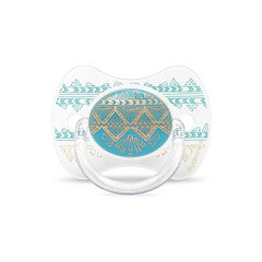 Sucette silicone réversible Ethnic 4-18 m – Turquoise