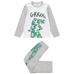 Pyjama van jerseystof in twee kleuren met grote dinosaurusprint