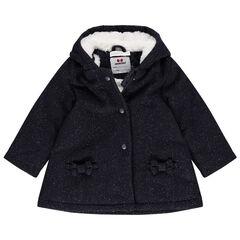 Manteau en drap de laine doublé sherpa à noeuds