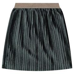 Jupe longue plissée en panne de velours