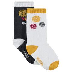 Lot de 2 paires de chaussettes hautes assorties motif floral
