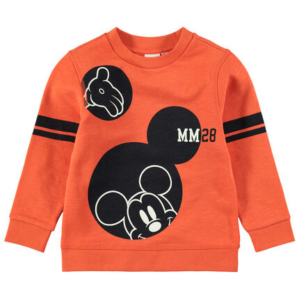 Trui van oranje molton met print van Mickey Disney