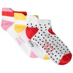 Lot de 3 paires de chaussettes courtes motif Smiley fruits