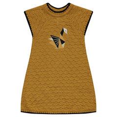 Robe manches courtes en tricot fantaisie avec cygne en origami brodé