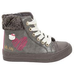 Hoge Hello Kitty sneakers met namaakbont