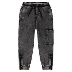 Pantalon de jogging en molleton léger effet surteint à poches