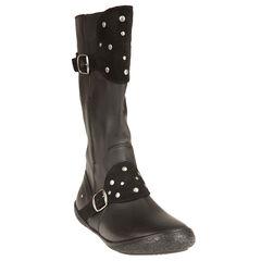 Zwarte laarzen in leder met studs