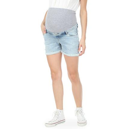 Zwangerschapsshort in jeans met opgezette pareltjes
