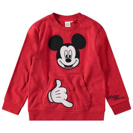 Disney-trui van molton met kangoeroezak en geborduurde Mickey