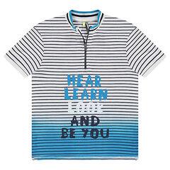 Junior - Polo met korte mouwen van jerseystof effect tie and dye, met kraag met ritssluiting