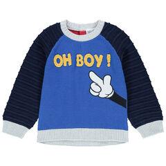 Pull en tricot bicolore avec inscription en bouclette et bras de Mickey Disney