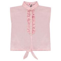 Hemd zonder mouwen met rechte vorm en knooplintjes aan de voorzijde