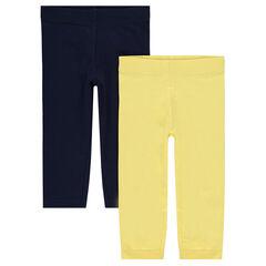 Junior - Set met 2 effen leggings met logoprint
