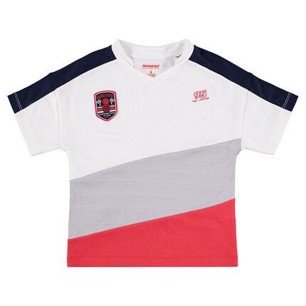 T-shirt met korte mouwen en brede contrasterende banden.