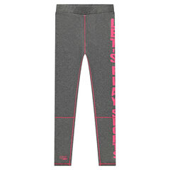 Junior - Legging en jersey gris chiné avec inscription printée