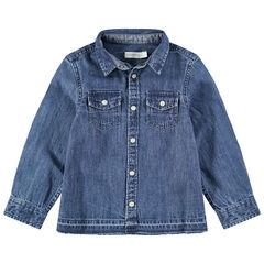 Hemd met lange mouwen van used jeans met zakken met drukknopen
