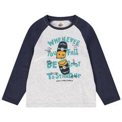 T-shirt manches longues en jersey bicolore avec skateboard printé
