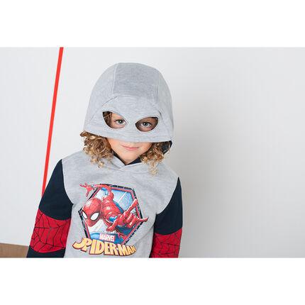 Sweater van molton met print van ©Marvel Spiderman en kap met maskereffect