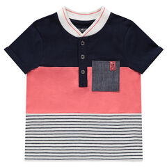 Polo met korte mouwen in twee kleuren met streepjes en zakje van chambray