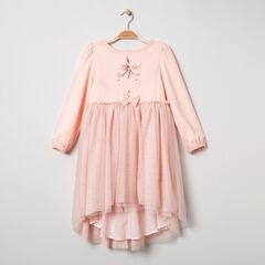 Feestelijke jurk met lange mouwen, tule volant en eenhoorn van lovertjes