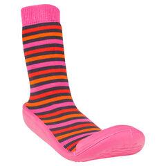 Chaussons chaussettes imprimés rayés et semelle gomme