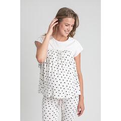 T-shirt de grossesse homewear à pois , Prémaman