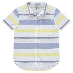 Junior - Chemise manches courtes à rayures en jacquard et poche