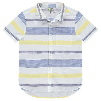 Junior - Hemd met korte mouwen, strepen van jacquard en zakje