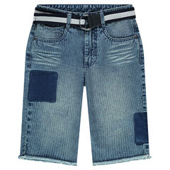 Junior - Bermuda en jeans effet rayé avec ceinture amovible