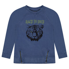 Junior - Geverfde trui van molton met print met tijgerhoofd