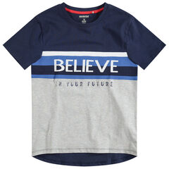 Junior - T-shirt met korte mouwen en opdruk met boodschap