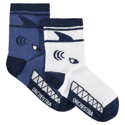 Set met 2 paar matching sokken met haaienmotief van jacquard