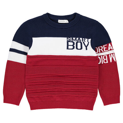 Pull en tricot fantaisie avec inscriptions en jacquard