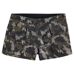 Short en jacquard irisé motif army all-over