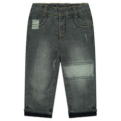 Straight fit jeans met used effect en microfleece voering