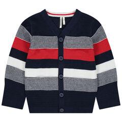 Gilet en tricot à bandes contrastées et jeux de mailles