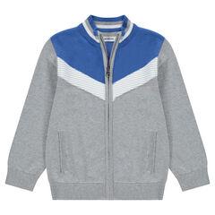 Gilet en tricot avec bandes contrastées esprit vintage