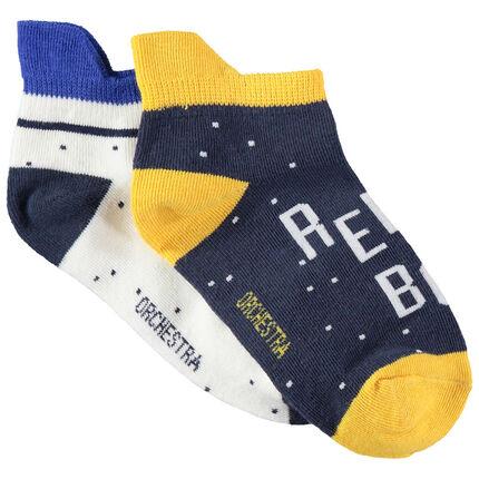 Set met 2 paar matching sokken met bescherming aan de achterzijde